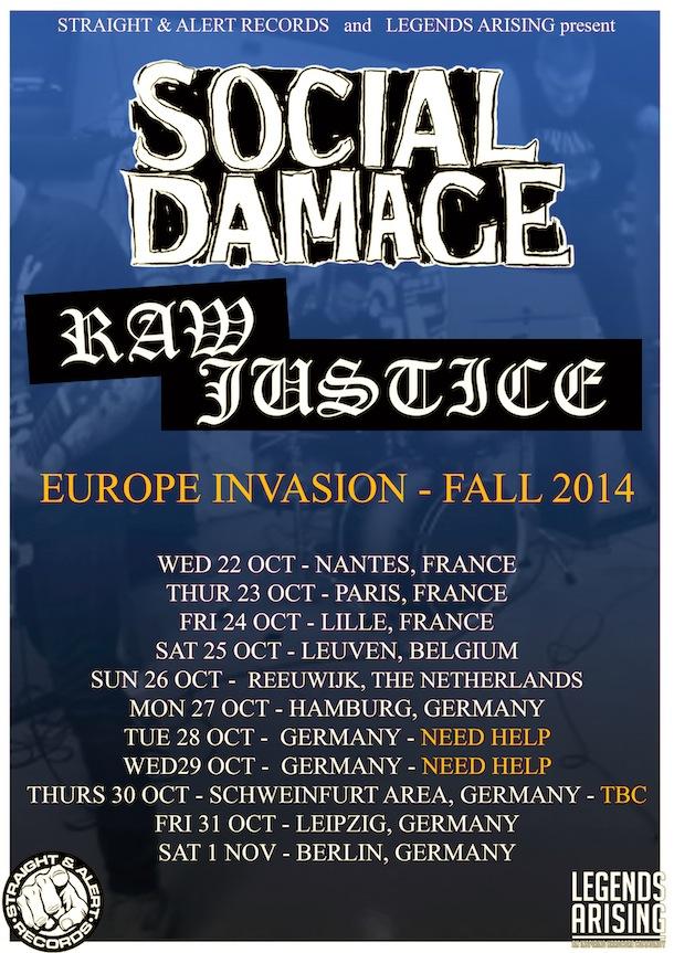 RAW JUSTICE x SOCIAL DAMAGE TOUR POSTER